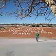 Kgalagadi Park sign and me