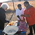 Peeling carrots w/ Mary Jane and Tebogo